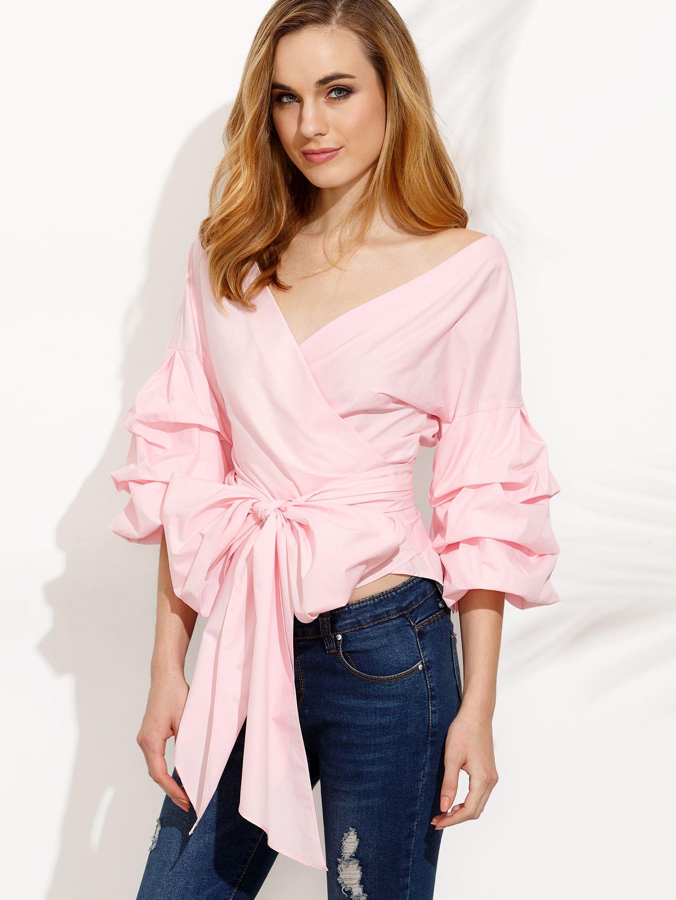 f285468e9476 Blusa plisada manga acampanada lazo cintura con cordón - rosa ...