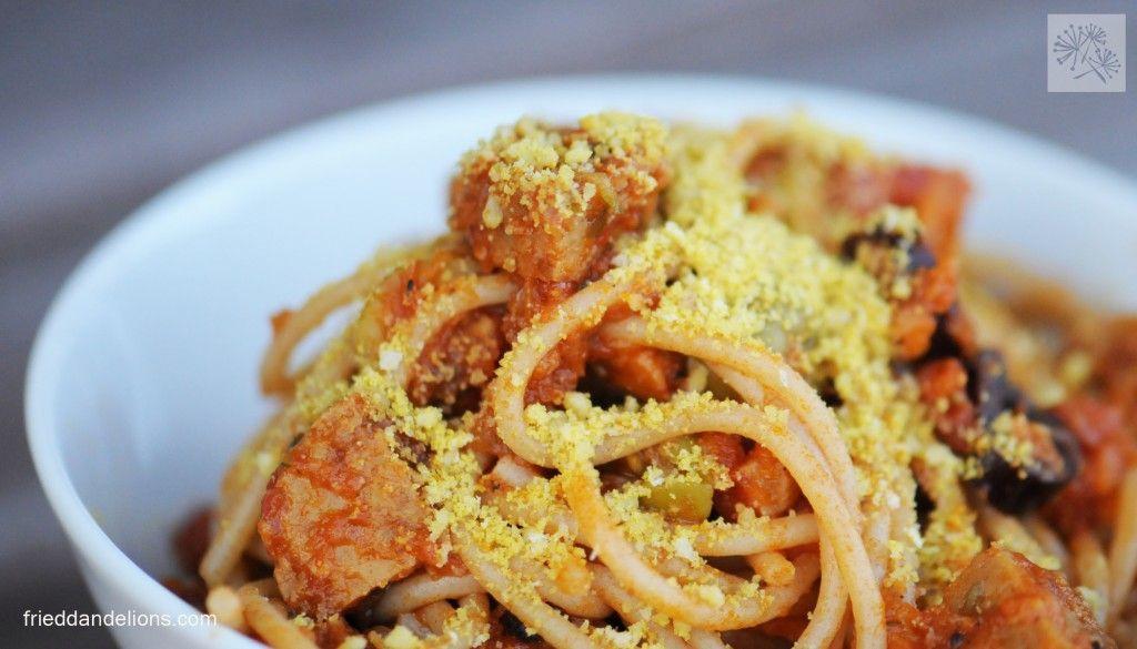 Carma John—Vegan Parmesan Sprinkles #walnutsnutrition Carma John - Vegan Parmesan Sprinkles... with 1 Cup Toasted Walnuts, Nutritional Yeast, panko bread crumbs, salt. spaghetti3 #walnutsnutrition