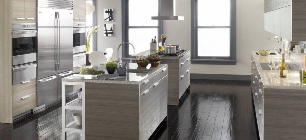 Light Gray Cabinets And Dark Flooring  The Ten  Inspiration Cool Kitchen Design Grey Review