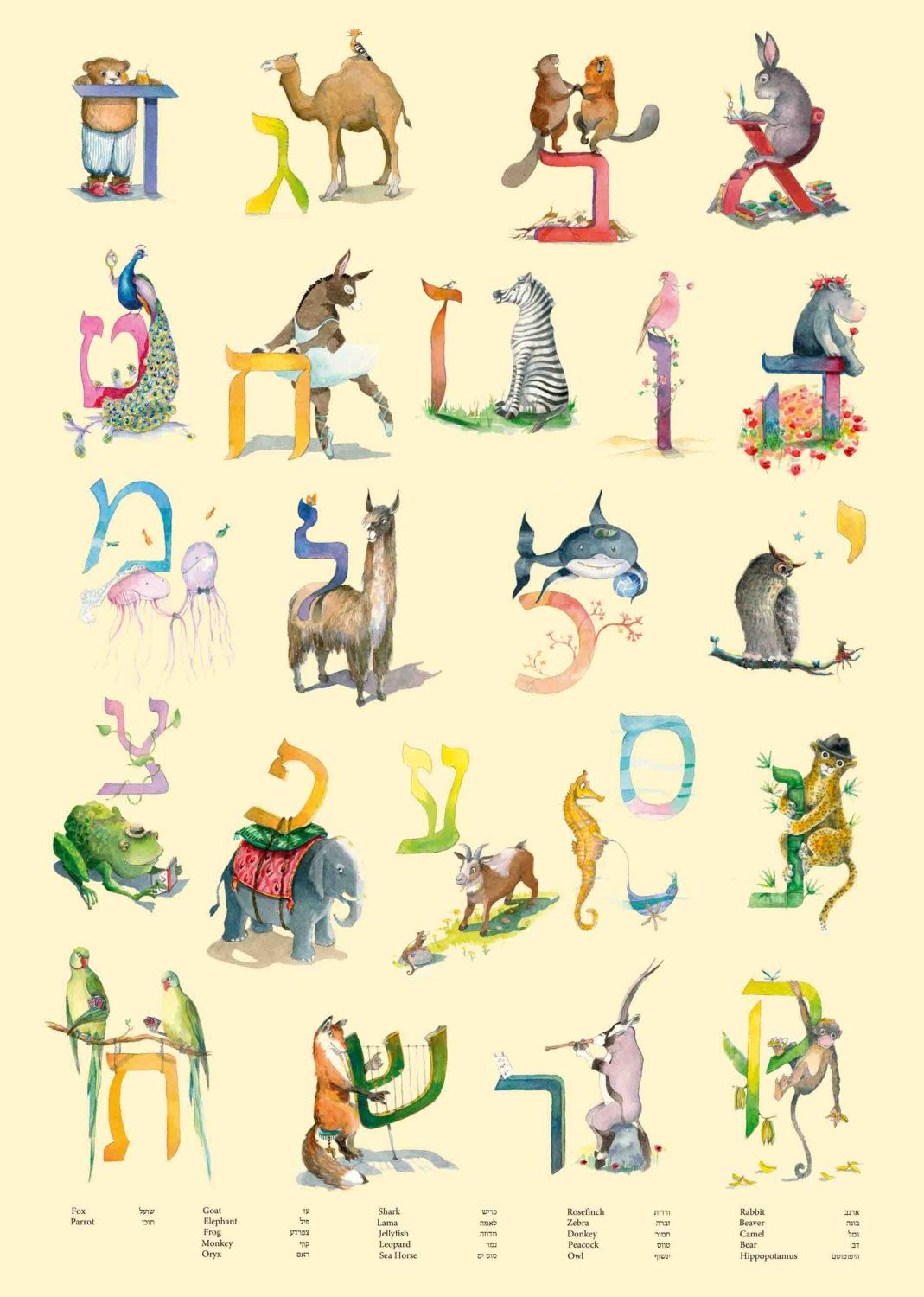 Hebrew Letters Poster Aleph Bet Animals Alphabet Poster