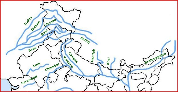 Major Rivers in India Indus River System Indus Ancient name Sindhu on indus river delta map, tigris mouth map, indus valley map,