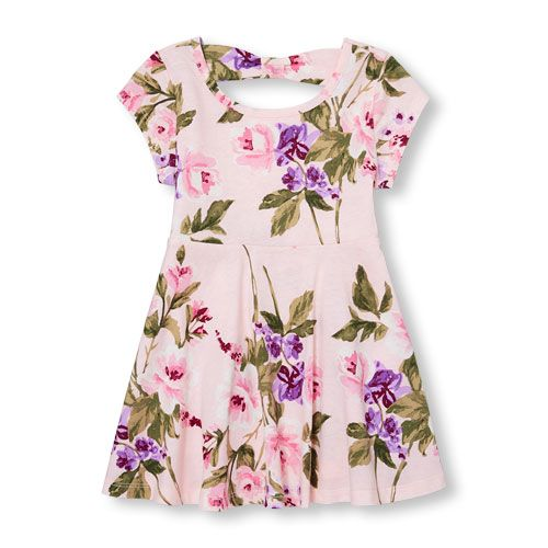 0f36f5613 Baby Girls Toddler Short Sleeve Floral Print Cutout Back Knit Dress - Pink  - The Children's Place