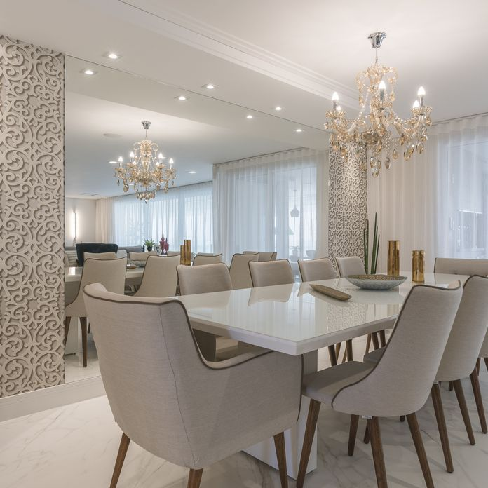 Decoraç u00e3o Sala de Jantar Jantar Branco com Papel de Parede 3D e Espelho sandrapompe 145926  -> Decoração De Sala De Jantar Pequena Com Espelho