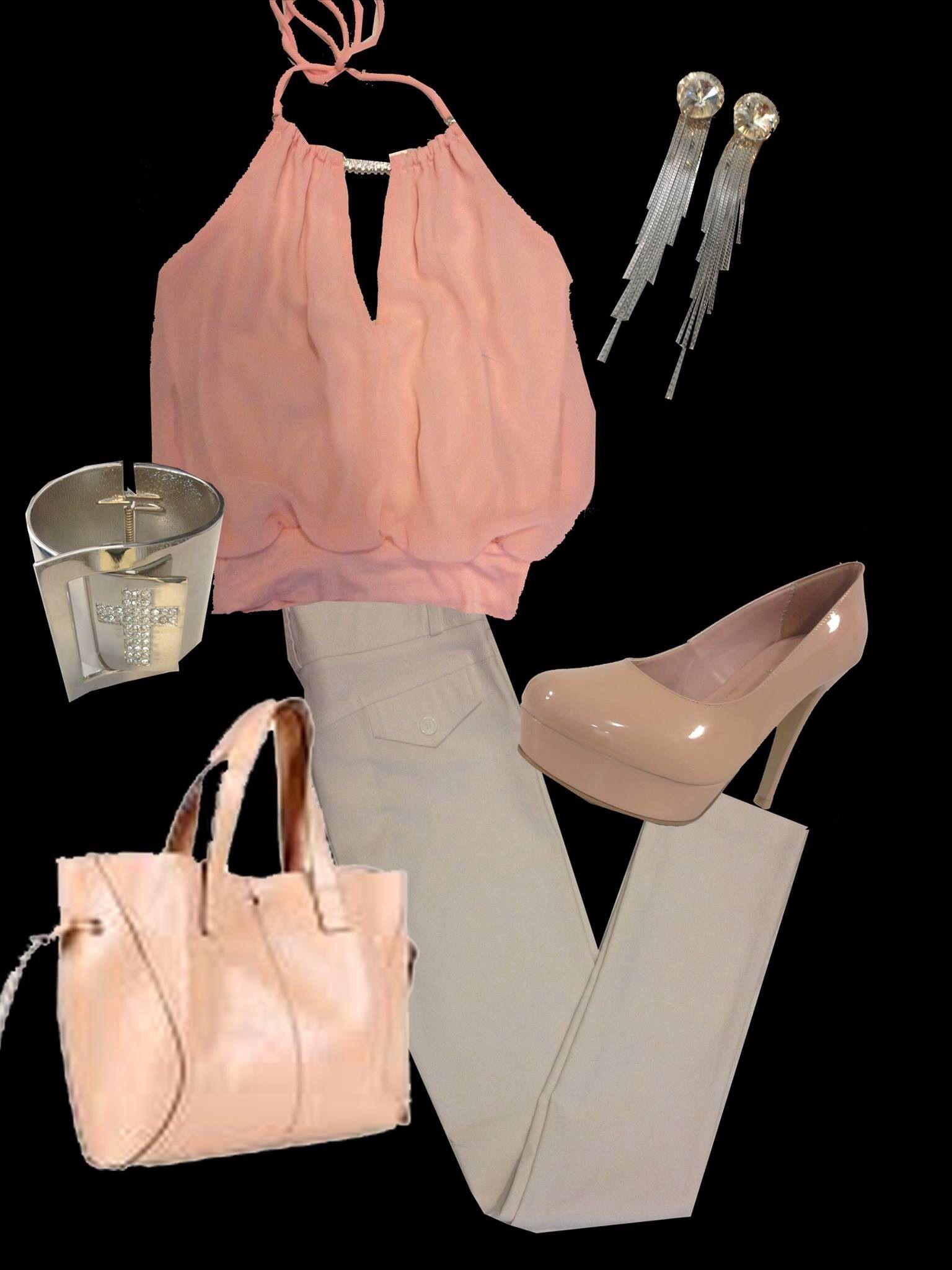 Crop top rosa, pantalón stretch blanco y accesorios! De Ciccio Boutique