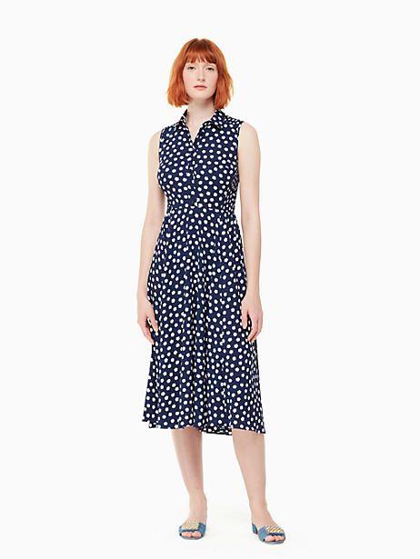 Kate Spade Could Dot Midi Dress French Navy Fresh White Size 8