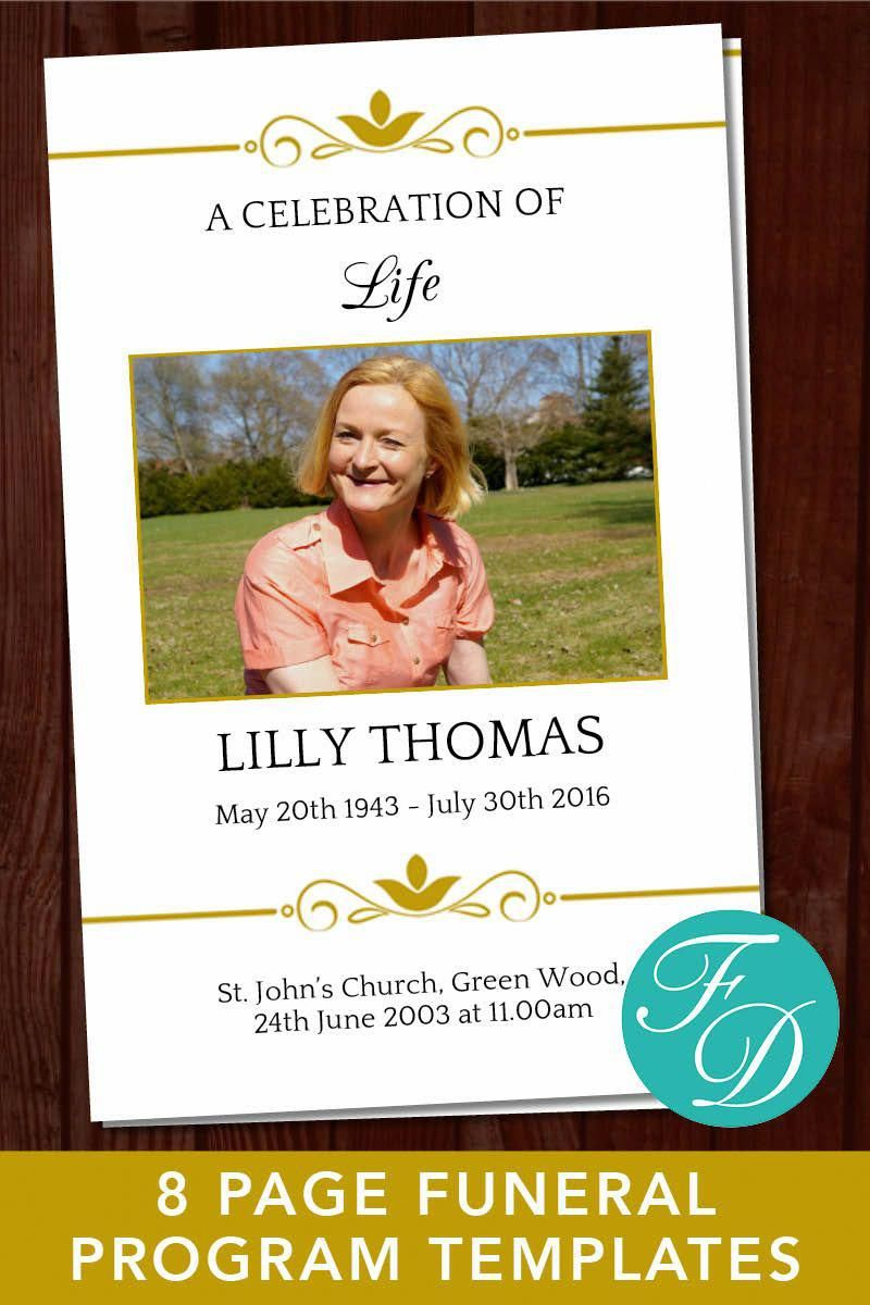 Memorial Program Template With Gold Design Simply Download