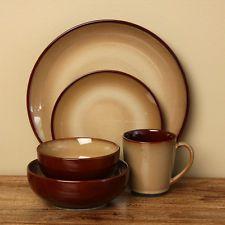 Everyday Rustic Brown Stoneware 40 Piece Dinnerware Dishes Set