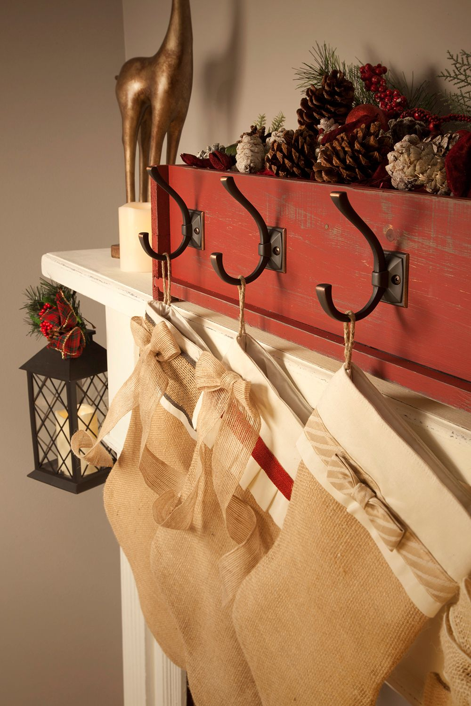 diy decor decorative stocking holder on a rustic mantel diy holiday christmas christmas. Black Bedroom Furniture Sets. Home Design Ideas