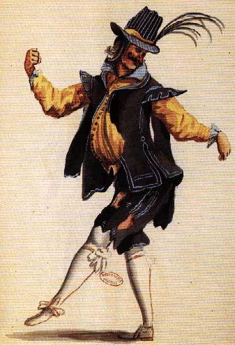 Mollier/Benserade, Ballet Royal de la Nuit, 1653: le Gueux (Costume design H. de Gissey)