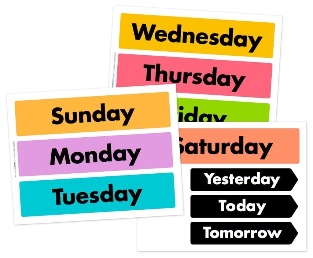 Free Days Of The Week And Weather Wheel Printables Free Printables Kids Kids Calendar Free Days Of The Week Printables