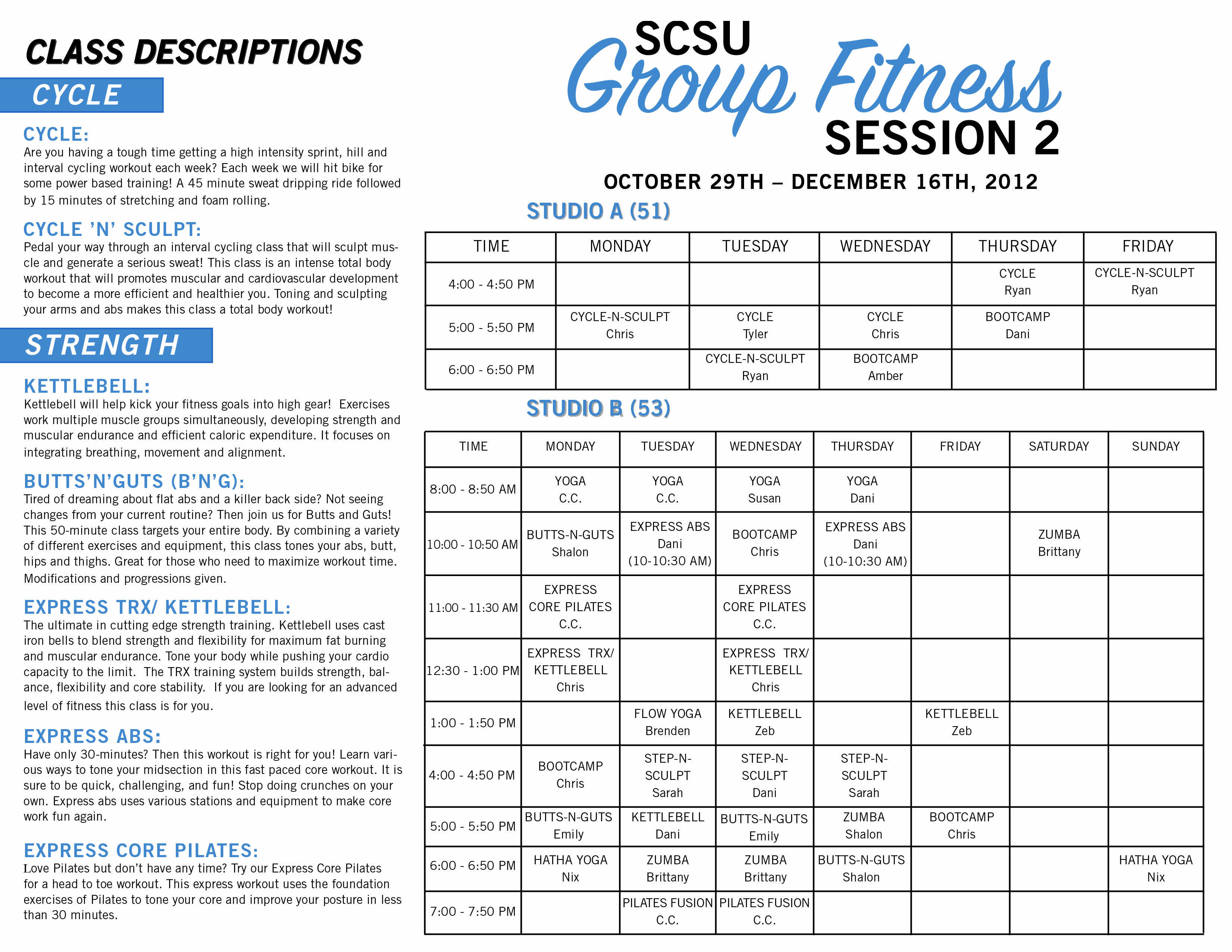 group fitness class schedule and descriptions | programs/events