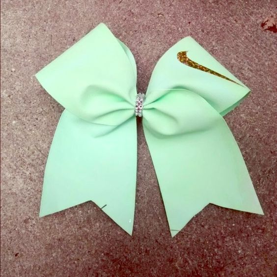 Nike cheer bow Mint green bow,gold Nike swoosh,well made ...