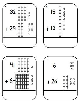 place value base ten block and cubes addition task cards adding tens center dry erase markers. Black Bedroom Furniture Sets. Home Design Ideas