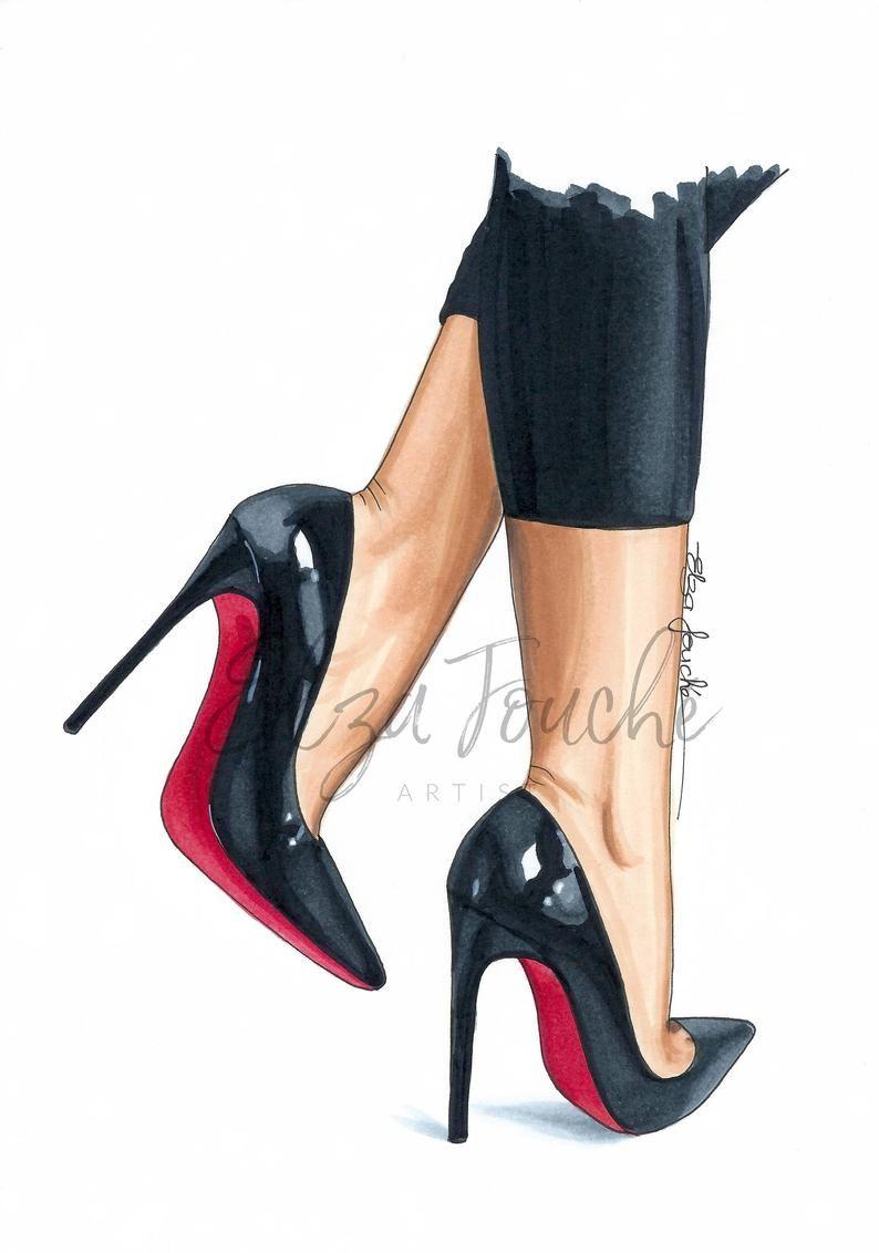 Photo of Fashion illustration – fashion artwork – wall art – fashion bedroom – heels print – women shoes – black shoes – fashion sketch – mothers day