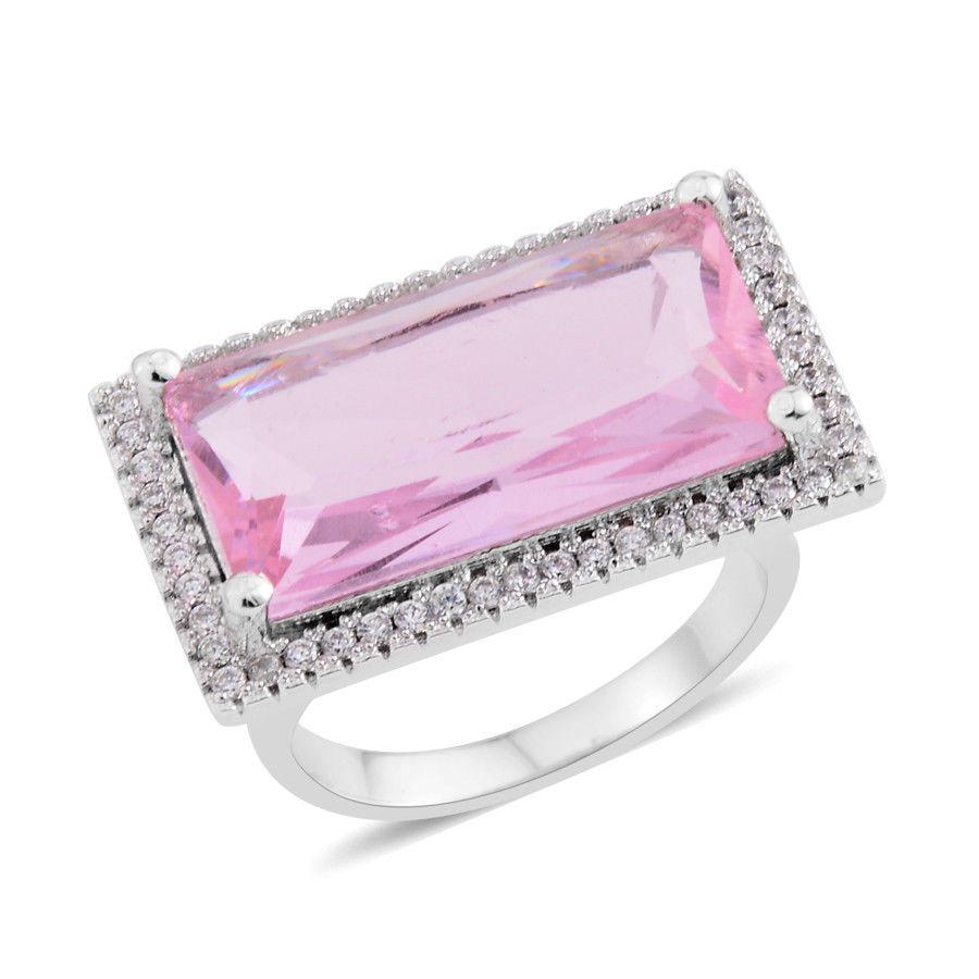 Pink posh white simulated diamond elongated halo ring silver tone ...