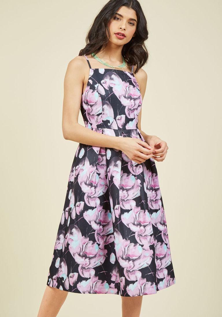 Ritz and Wisdom Midi Dress in Noir Bloom in S