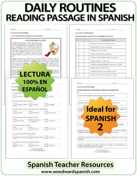 Spanish Daily Routine - Reading Passage with worksheets - Lectura ...