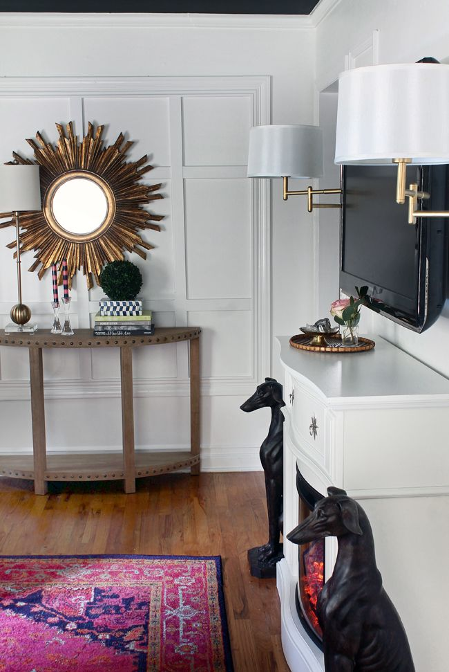 Grid Wall / Sunburst Mirror / Studded Console Table
