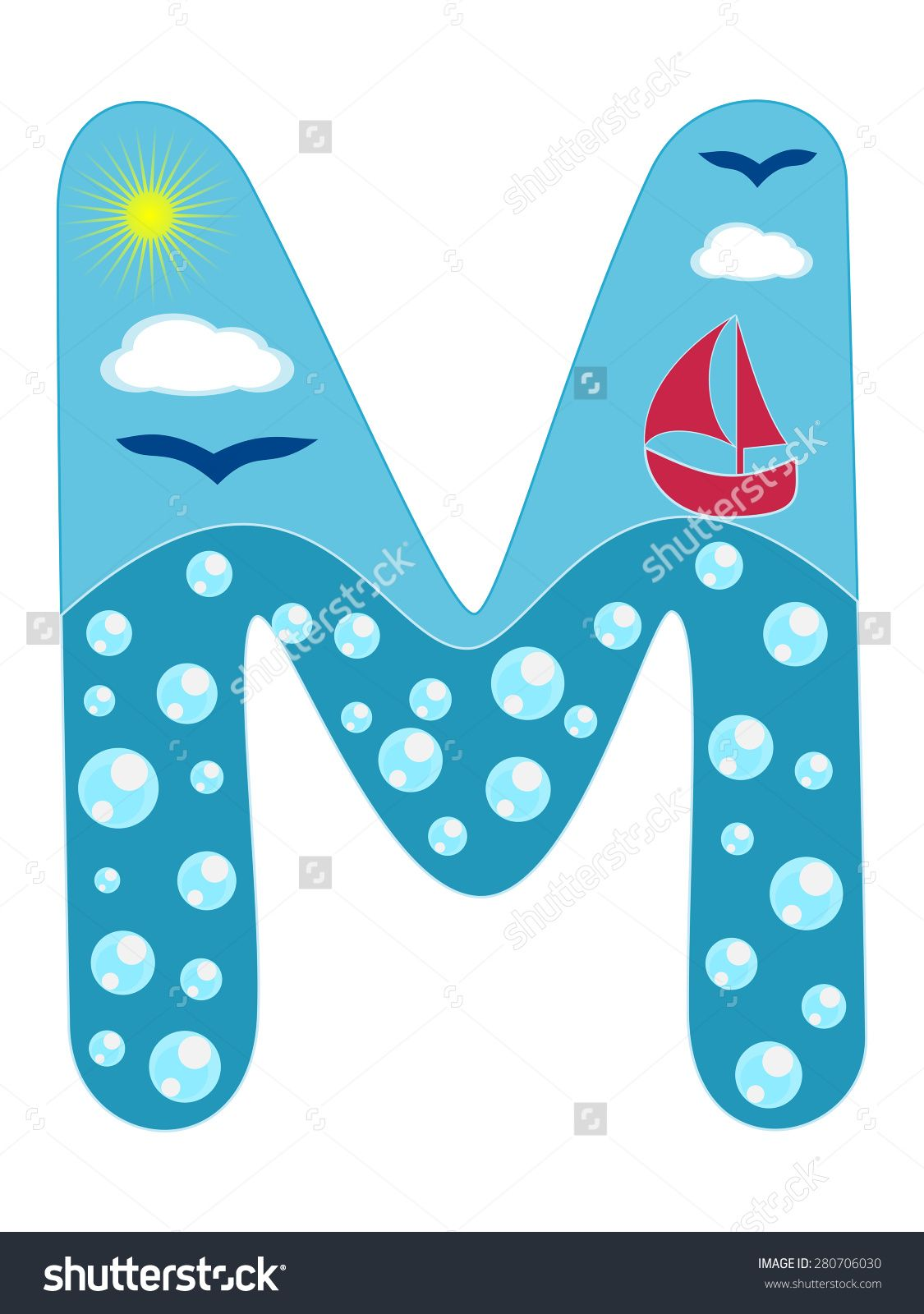 Stock Vector Letter M Sea Summer Wavy Alphabet Vector