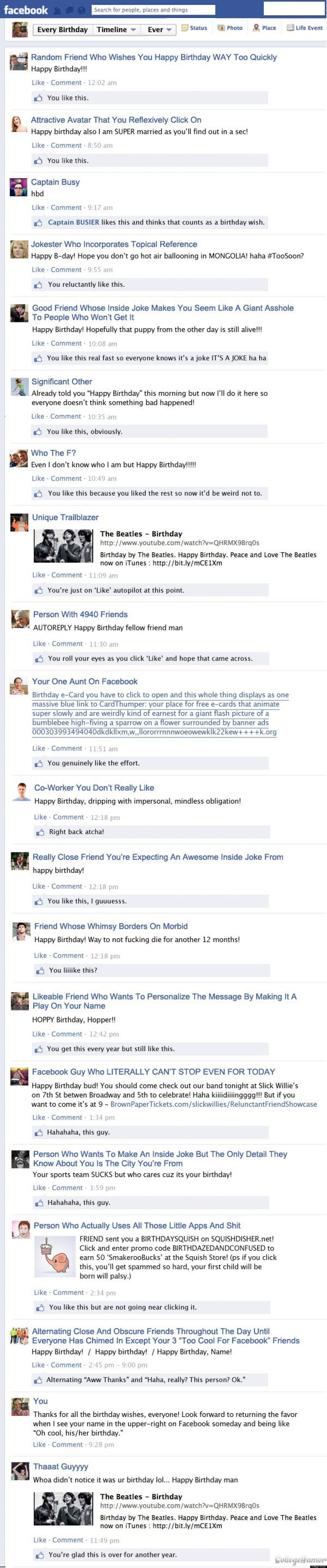 College Humor has pretty much nailed it. This is what your facebook wall looked like on your last birthday, too, isnt it?