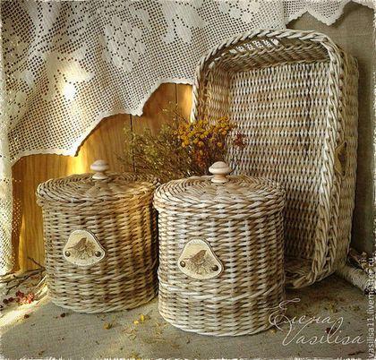 """Корзины, коробы ручной работы. Ярмарка Мастеров - ручная работа """"Гнездо жаворонка"""" набор плетеных коробов. Handmade."""