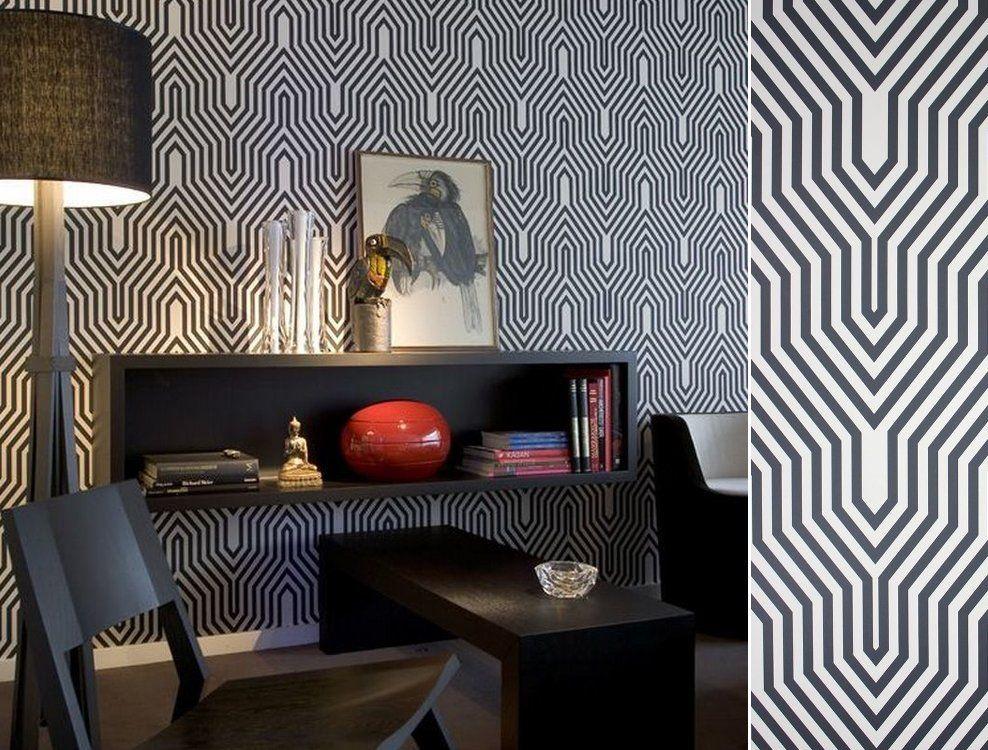 Papier Peint Art Deco Minaret Noir Et Blanc Au Fil Des Couleurs
