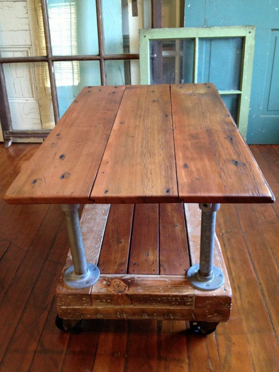 Reclaimed Wood Coffee Table, Crate Dolley, Galvanized Pipe, Metal Casters  Table  Leg