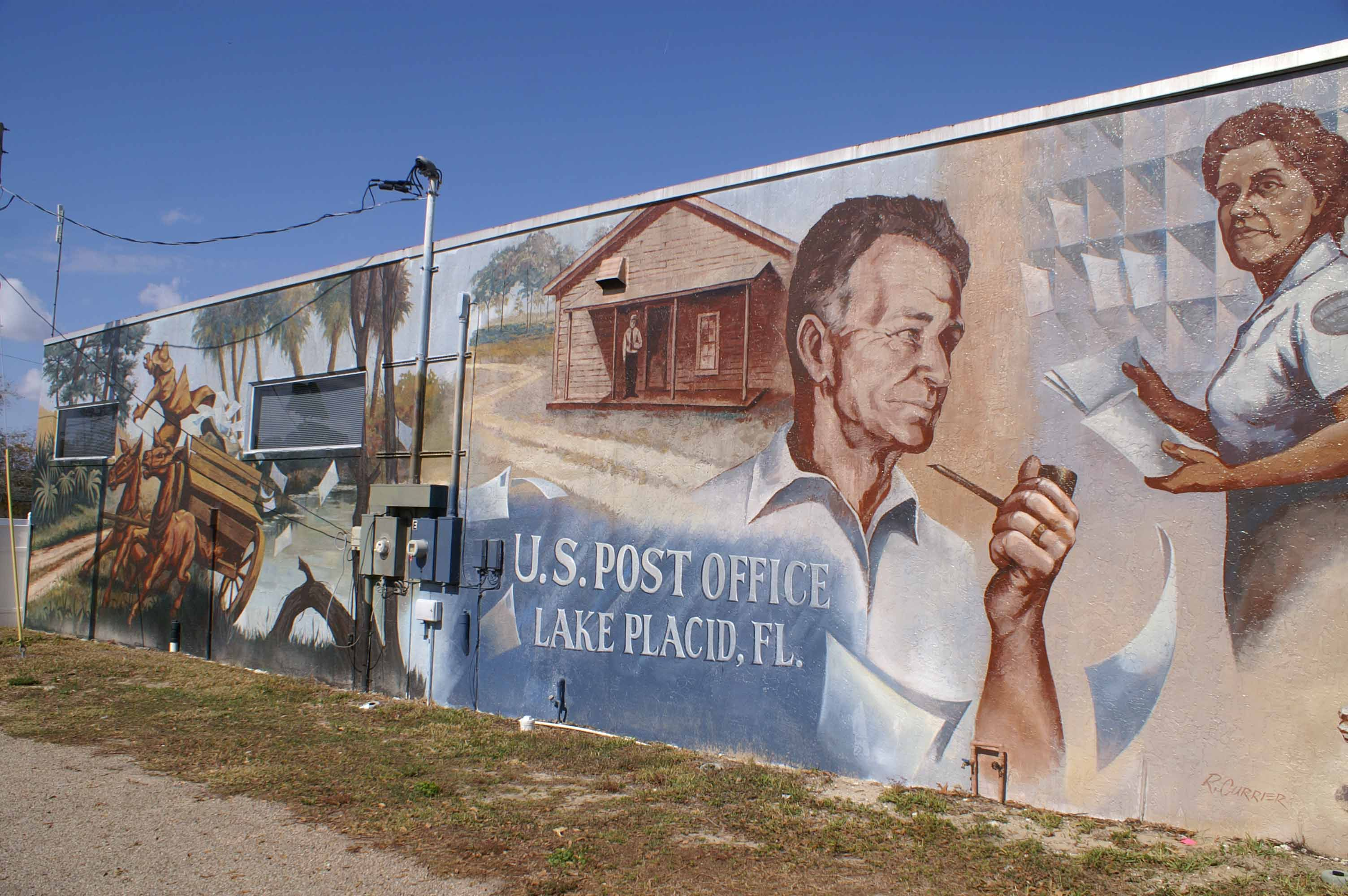 Mural Of Lake Placid United States Post Office History This Is One Of Many Full Wall Murals You Can See All Over Town Depicting Th Lake Placid Mural Art Lake