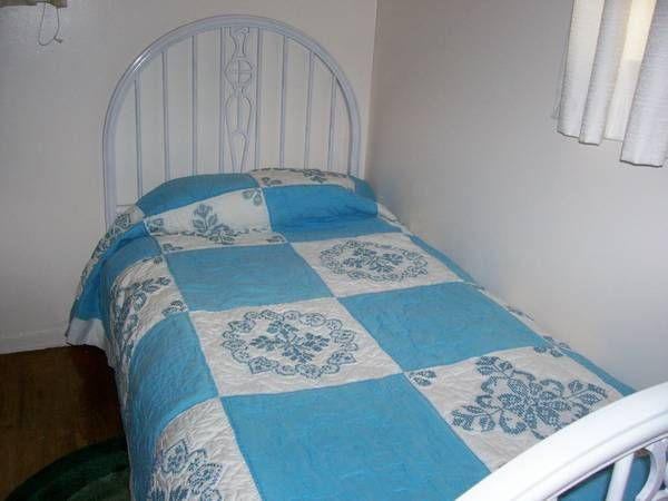 Vintage White METAL Twin Bed Frame Early 1900's