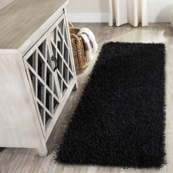 Safavieh Handmade New Orleans Shag Black Textured Polyester Runner (2'3 x 6')