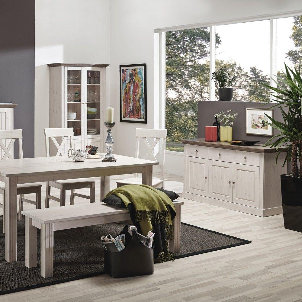 Steens Möbel esszimmer monaco sideboard mit aufsatz white wash steens