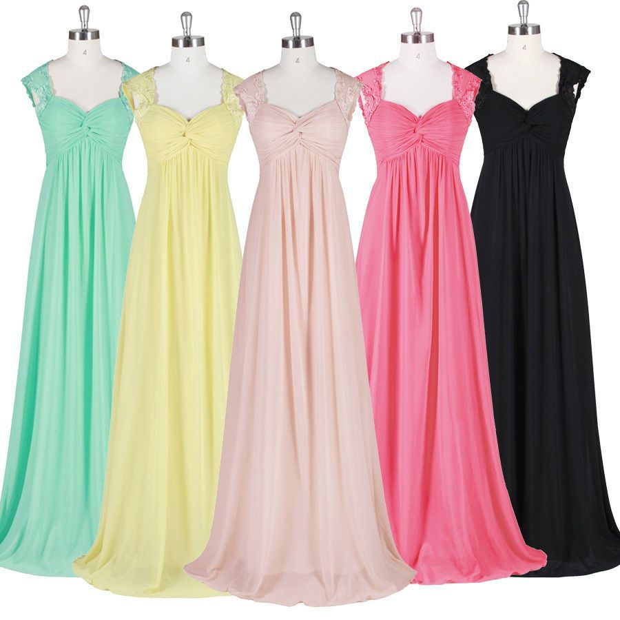 Elegant women vneck long chiffon maxi evening dress bridesmaid
