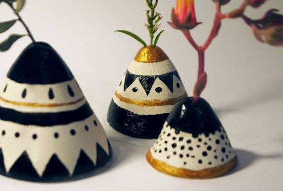 Mini Vessels with black and gold painting
