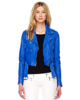 464483844 MICHAEL Michael Kors Cropped Crinkled Leather Jacket. must have for ...