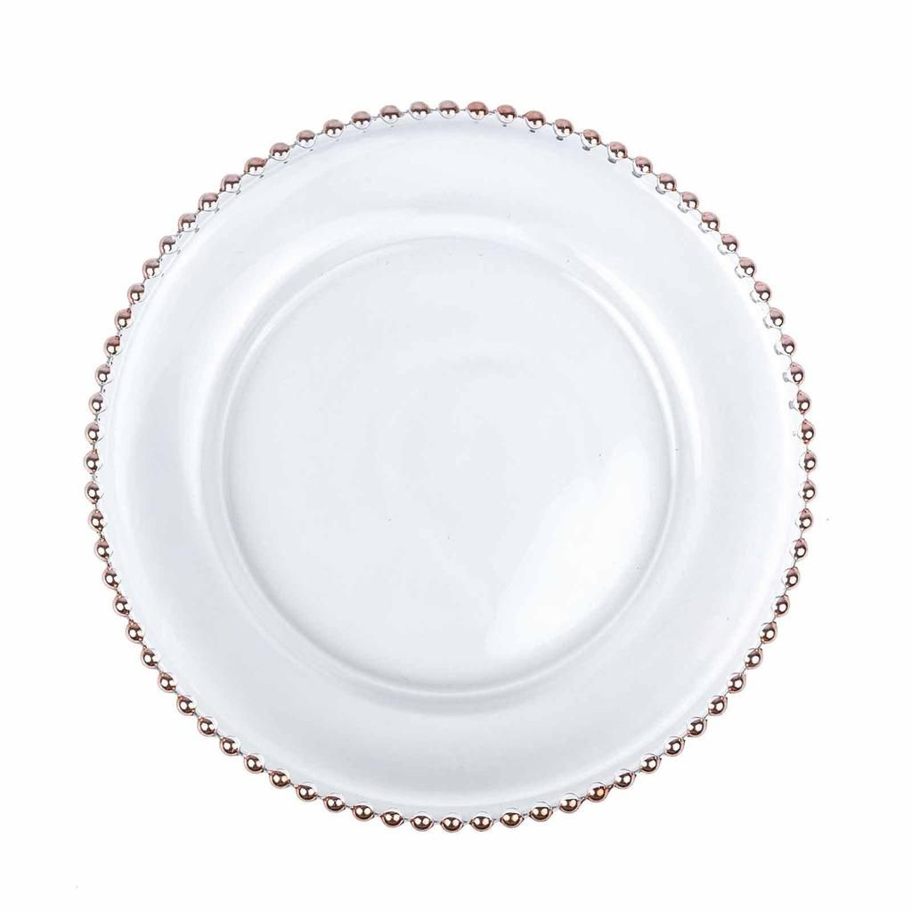 8 Pack 12 Round Rose Gold Beaded Rim Glass Charger Plates Glass Charger Plates Glass Charger Plates