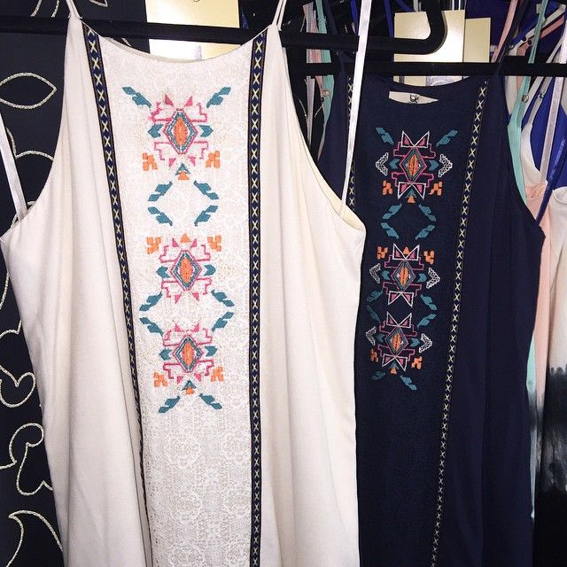We love this tribal embroidered dress! #YaLosAngeles #SS15