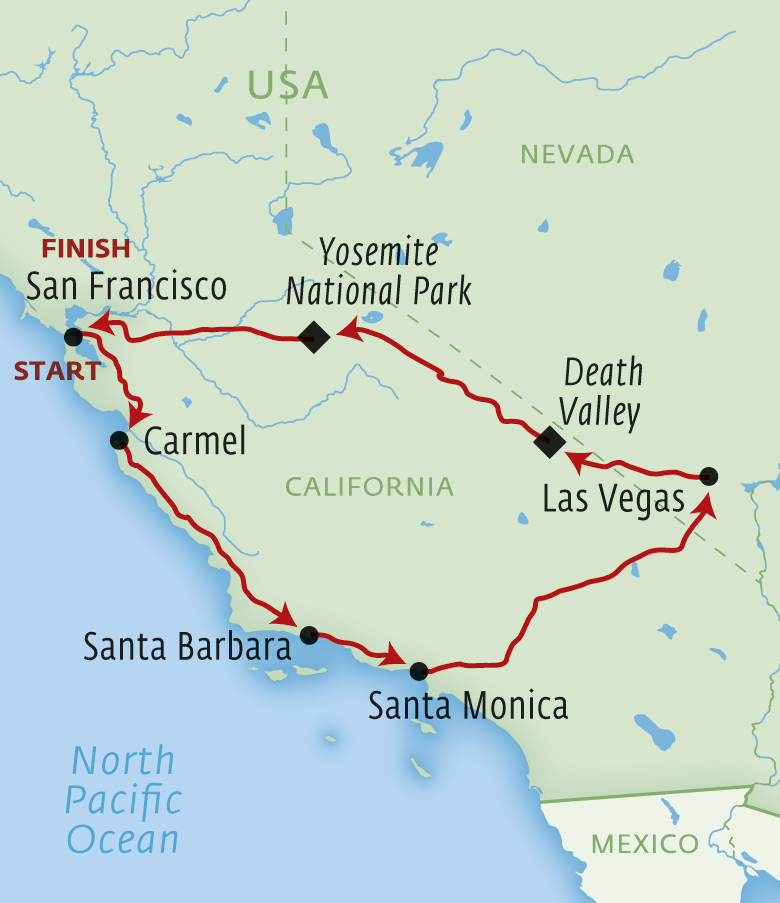 Itinerary Map For The WestCoast Classic USA Holiday Pinterest - Us map showing national parks