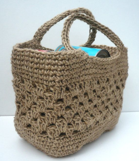 Tote Shopping Bag. Strong Crocheted Jute. Made in England. FREE P&P ...