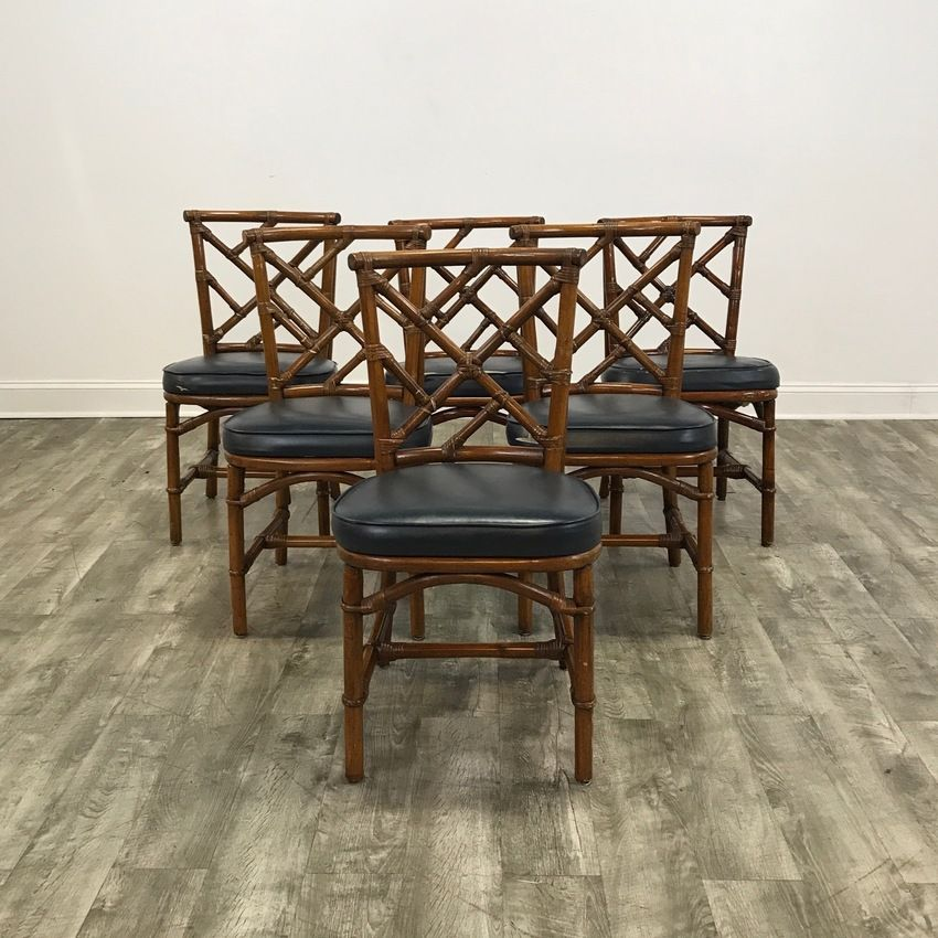 Set Of 6 Dark Rattan Dining Chairs