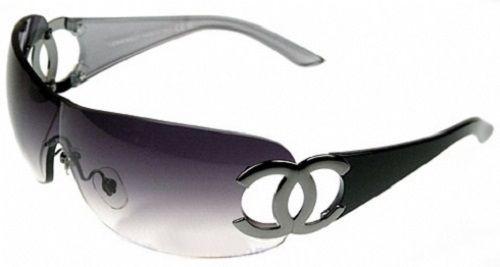 0babda68a274 Details about Chanel Womens Black Metal Logo Shield Sunglasses