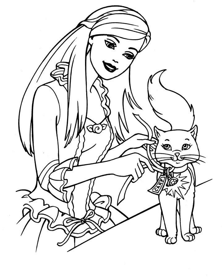 Coloriage le chat avec sa maitresse et dessin colorier le chat barbie coloriages coloriage - Un chat a colorier ...