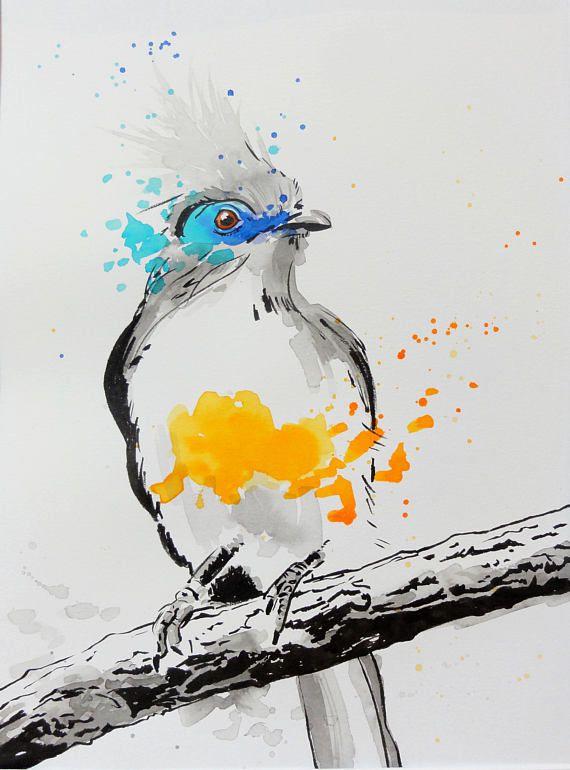Oiseau Exotique Peinture A L Encre Et Aquarelle Sur Tatudlyadashi