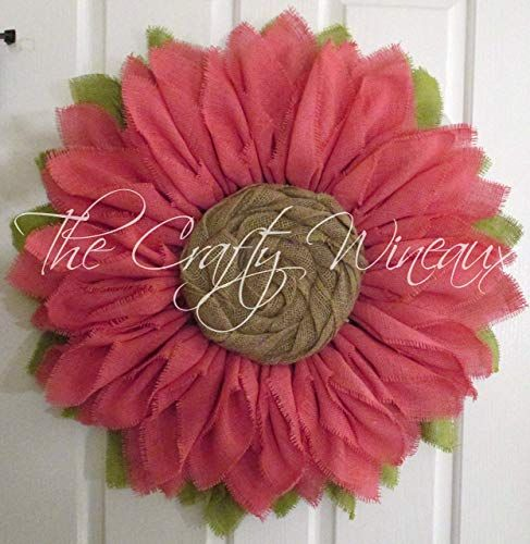 Photo of Amazon.com: Extra Thick Light Pink Burlap Sunflower Wreath from The Crafty Wineaux ™: Handmade