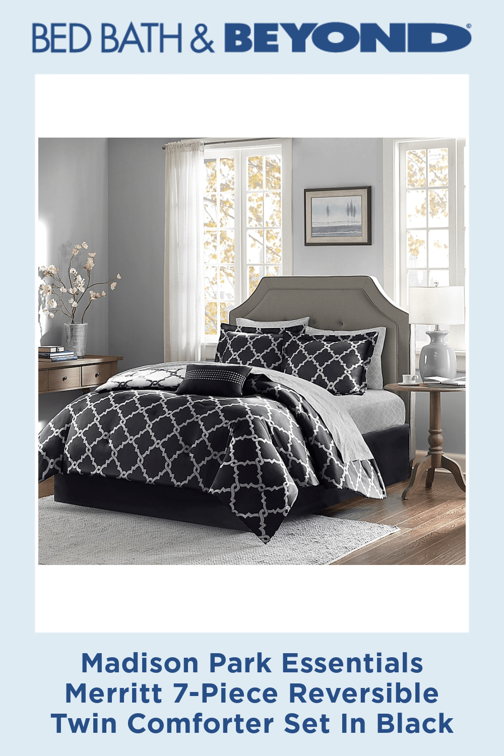 Photo of Madison Park Essentials Merritt 7-Piece Reversible Twin Comforter Set In Black