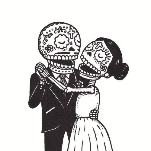 THE WEDDING COUPLE bride groom MUERTO Art Sticker Print DIA DE LOS JOSE PULIDO