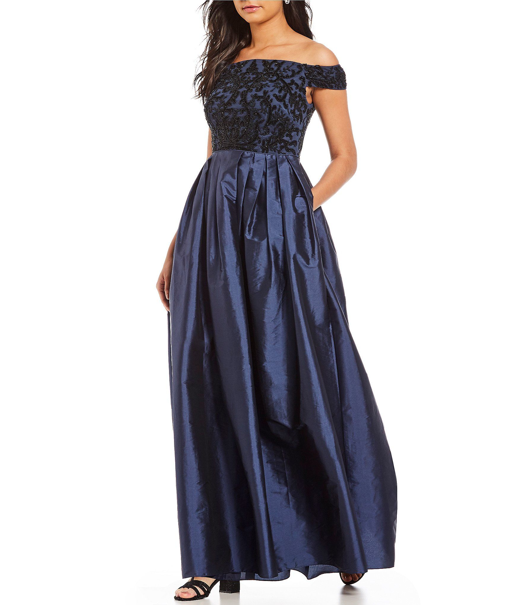 a0f014c96b2 Adrianna Papell Off-the-Shoulder Beaded Bodice Ball Gown in 2019