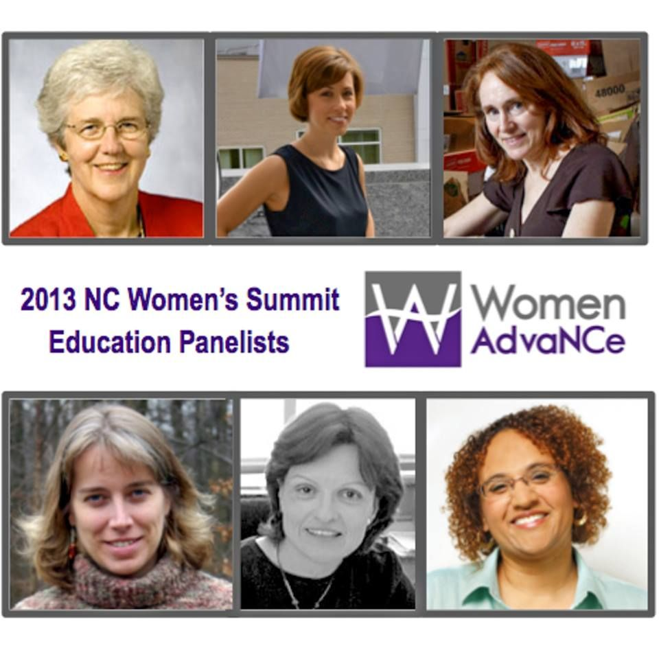 NC Women's Summit - Education Panelists:  Dr. Helen Ladd, Gina Moretto Wright, Ginger Young, Karey Harwood, Dr. Suzanne Gulledge, and Diane Morris.