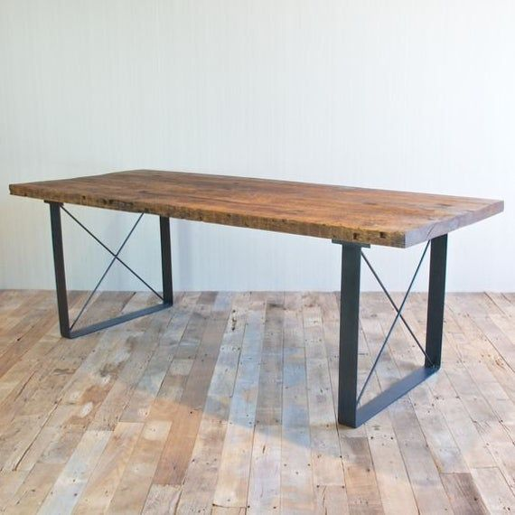 Heavy Duty Iron Table With Wooden Top Dining Table Handmade Etsy In 2020 Reclaimed Wood Dining Table Handmade Dining Table Dining Room Table