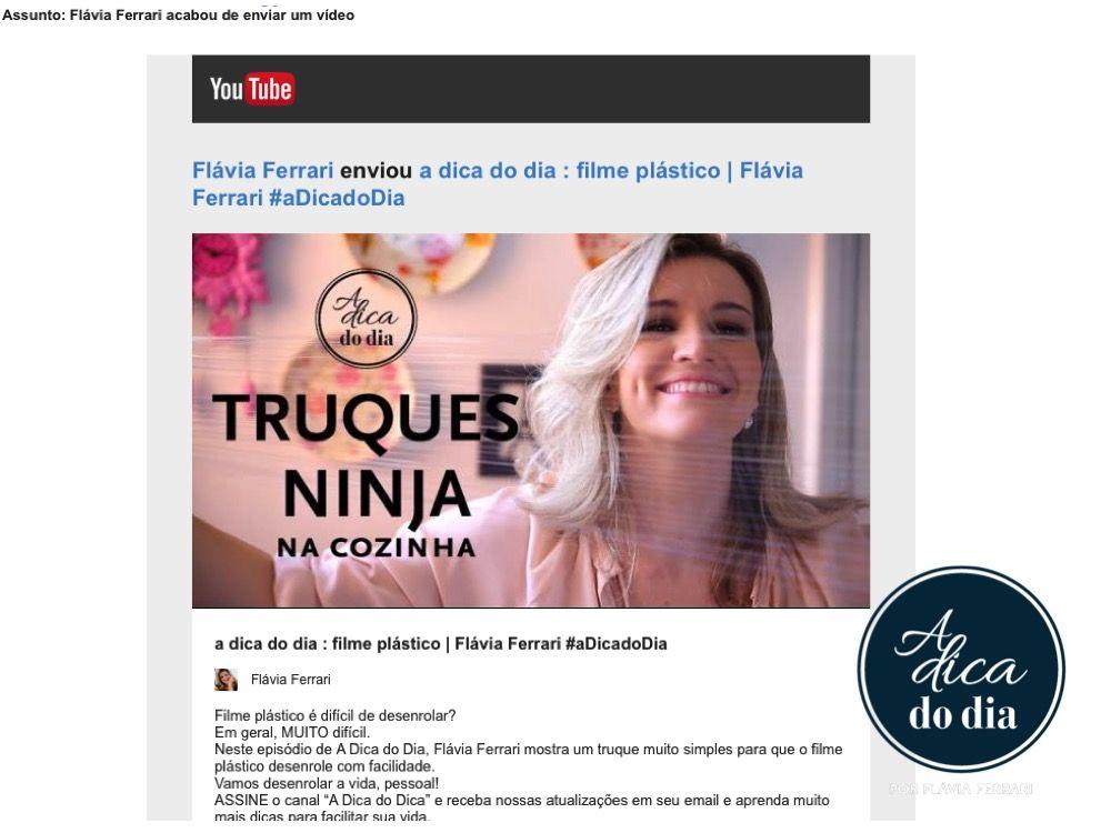 Como receber vídeos do YouTube por email. Confira o passo a passo detalhado que Flávia Ferrari preparou para que você não fique de fora de nenhuma atualização do canal #aDicadoDia