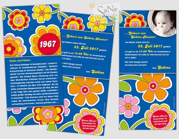 Flower Power Einladungskarte Zum Geburtstag Fur Alle Die Im Jahr 1967 Geboren Wurden Im Ultima Einladungskarten Geburtstag Einladung Geburtstag Einladungen